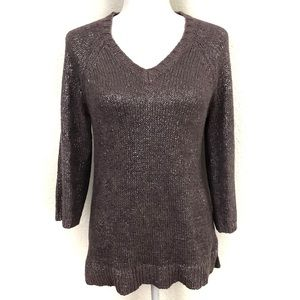 Boden Lavender Pullover Metallic Knit Sweater Cozy